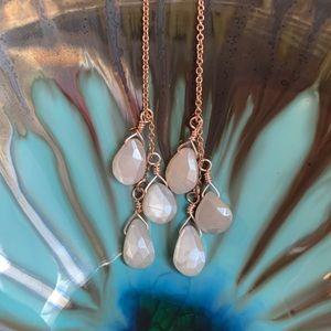 Jewelry - Moonstone 14K Rose-Gold threader earrings